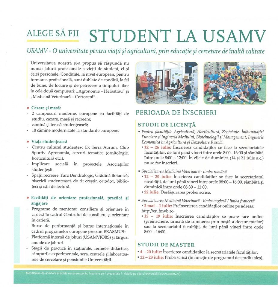 Tot ce trebuie să știi despre înscrierea la USAMV