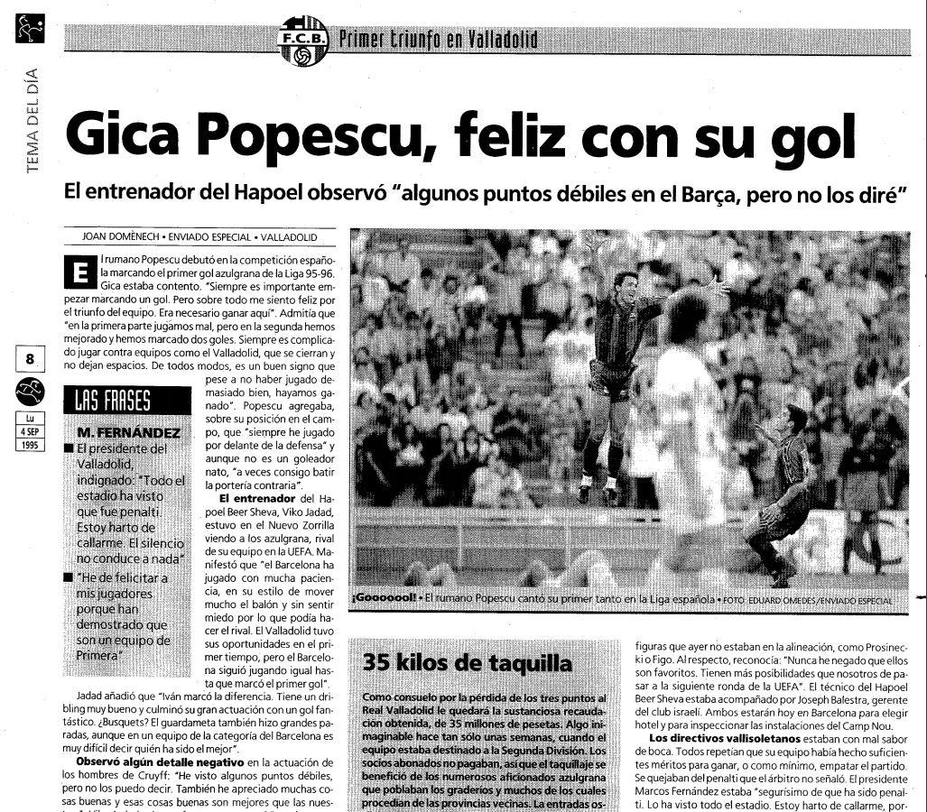 Gică Popescu a debutat cu gol la Barcelona (sursă foto: Mundo Deportivo)