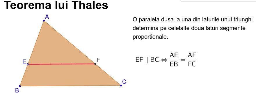 Teorema lui Thales. Teorema