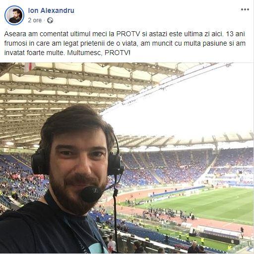 Ion Alexandru a plecat din departamentul Sport de la PRO TV