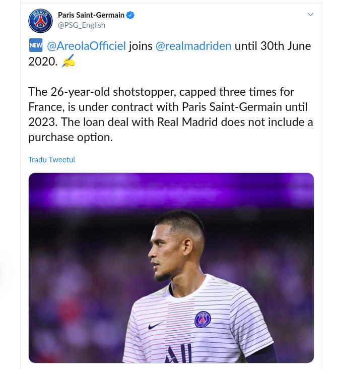 Areola, transferat de Real Madrid