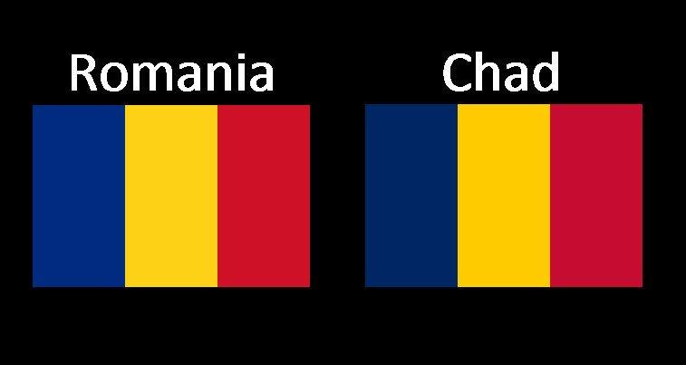 Steagurile României și Ciadului seamănă izbitor