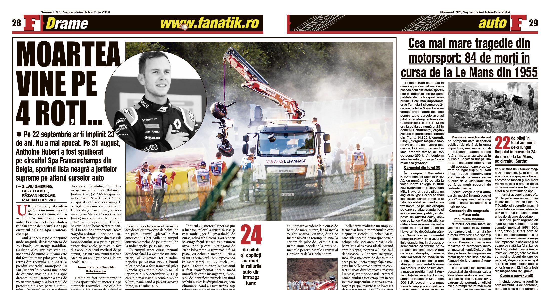 Cursele auto au provocat nenumărate drame. Află care au fost cele mai tragice întâlniri cu moartea în Marele Circ al Formulei 1, și nu numai, din numărul pe septembrie/octombrie al revistei FANATIK!