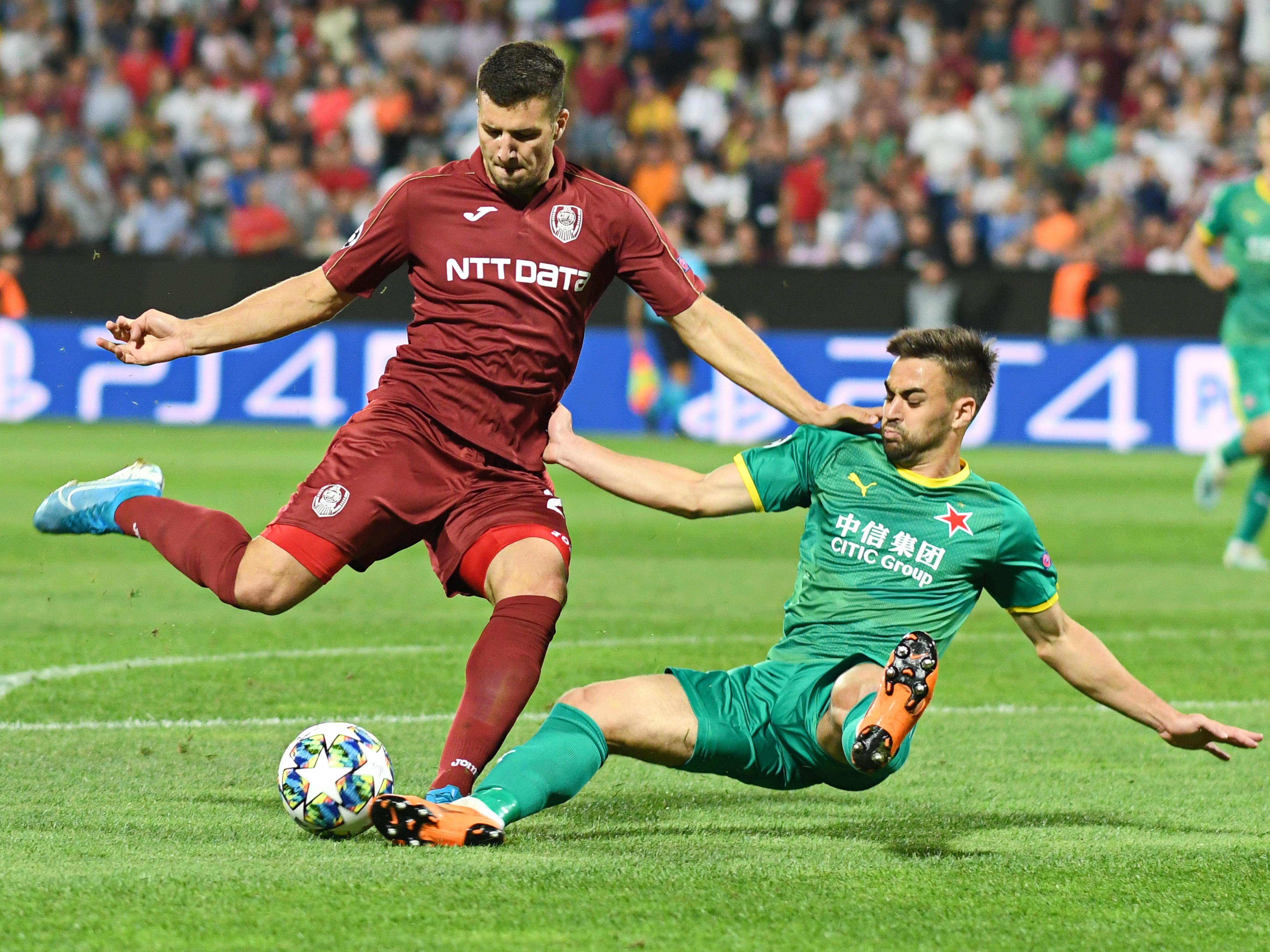 George Țucudean a jucat ultima dată în returul dublei cu Slavia Praga. Sursă Foto: Sportpictures