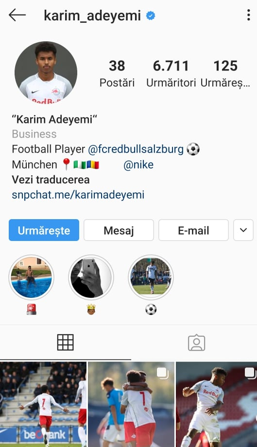 Profilul de Instagram al lui Karim Adeyemi. Sursă foto: instagram