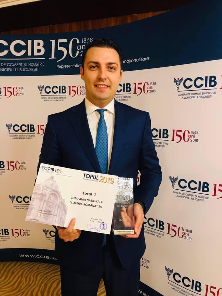 Alexandru Croitoru este mândru că Loteria Română a fost premiată de Camera de Comerț și Industrie a Bucureștiului cu locul 1 în topul firmelor de profil de pe piața jocurilor de noroc după ce a dat premii de 204 milioane de euro în primele 11 luni ale lui 2019