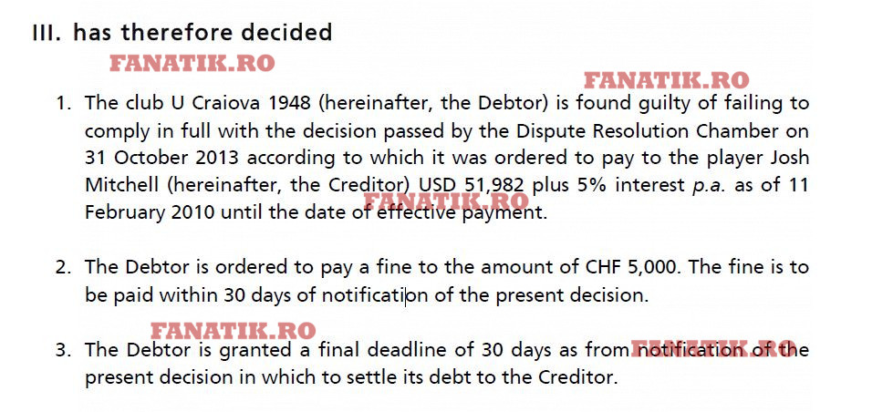 Decizia FIFA în cazul Universitatea Craiova - Josh Mitchell! Adrian Mititelu nu a contestat datoria către fotbalist. Cum arată motivarea forului internațional.