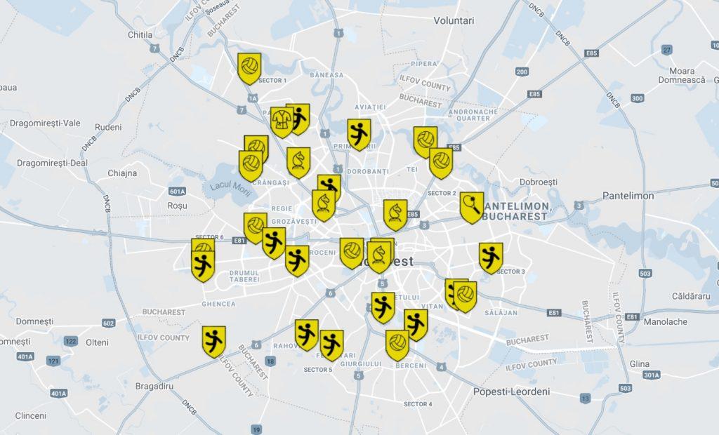 Harta bazelor de pregătire pe care le are CSM în București