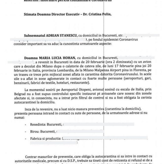 Plângerea către DSP împotriva doamnei Hohan