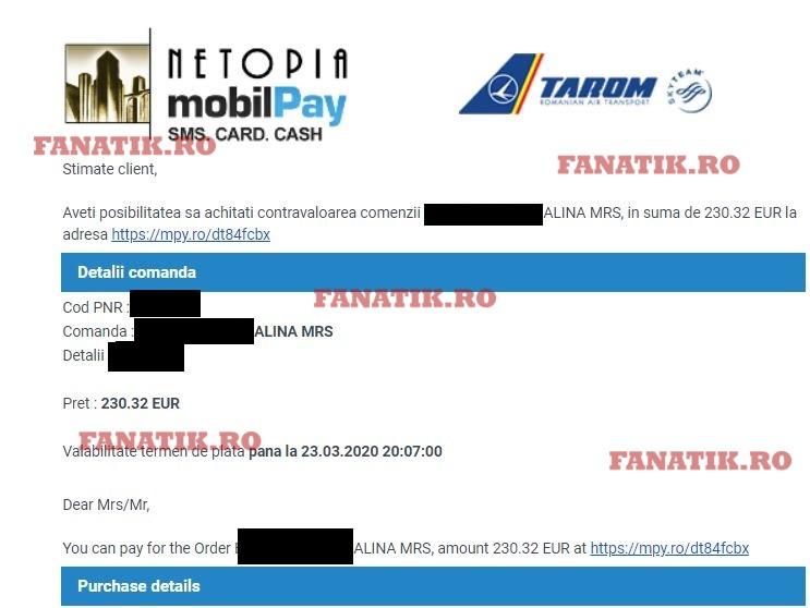 Biletul de zbor între Roma și Constanța, vândul la suprapreț de TAROM în perioade de coronavirus