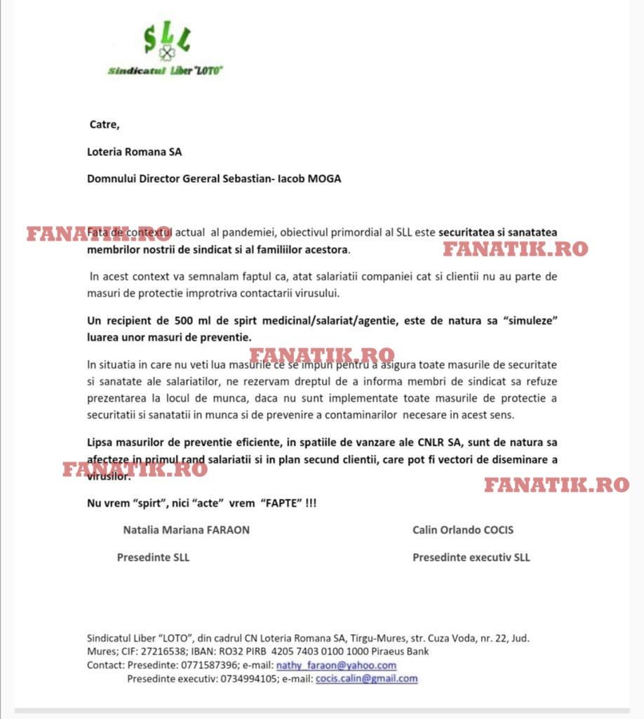 """Comunicatul Sindicatului Liber """"Loto"""" adresat directorului general Sebastian Iacob Moga, în care i se cer măsuri urgente de protecție a salariaților împotriva infectării cu Covid-19"""