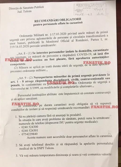 """""""Recomandările obligatorii"""" pentru românii aflați în carantină în județul Tulcea"""