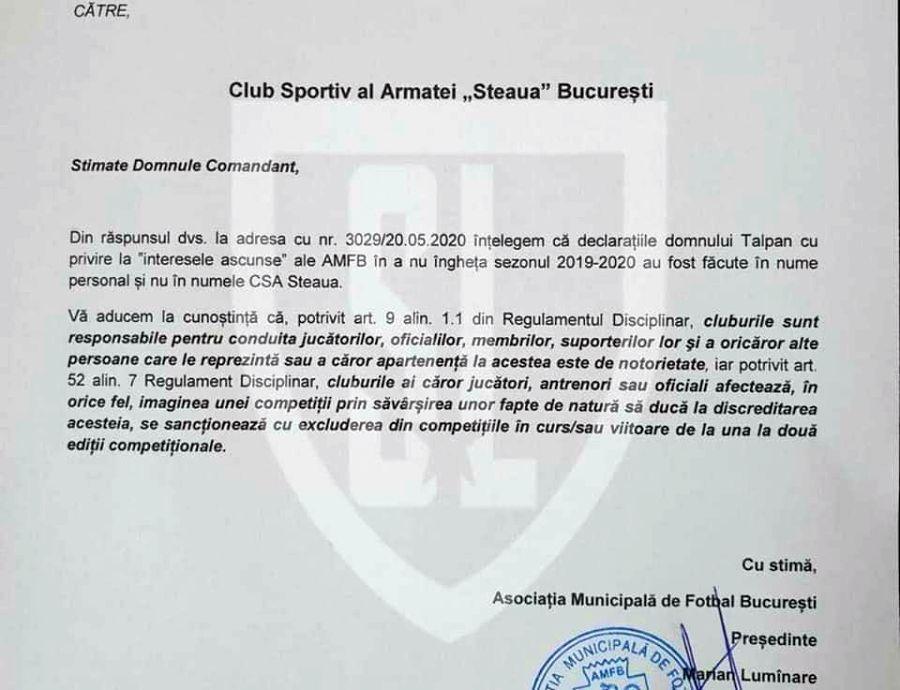 Scrisoare trimisă de AMFB către CSA Steaua. Sursă foto: Facebook Steaua Liberă