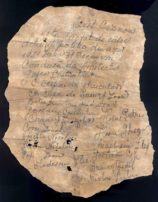 Scrisoare găsită în zidurile cazinoului