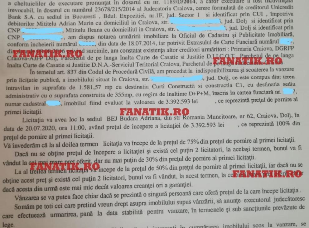 Document licitație Adrian Mititelu