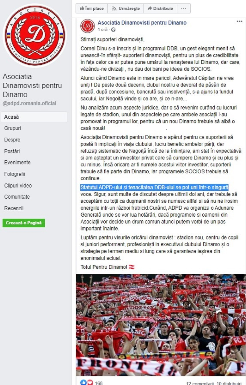 Comunicat suporteri Dinamo ADPD
