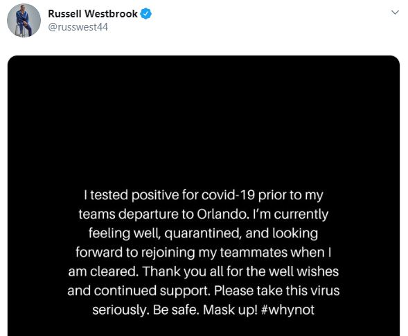 Russel Westbrook din NBA are Covid-19. FOTO: twitter