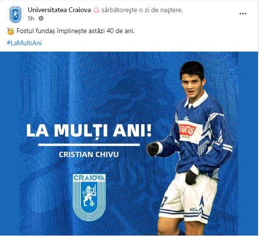 Cristi Chivu, felicitat de pagina Universității Craiova