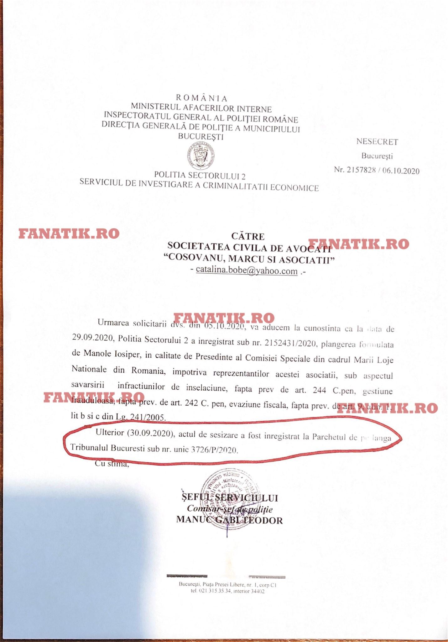 Răspunsul la plângerea penală depusă împotriva lui Radu Bălănescu (sursa arhivă personală)