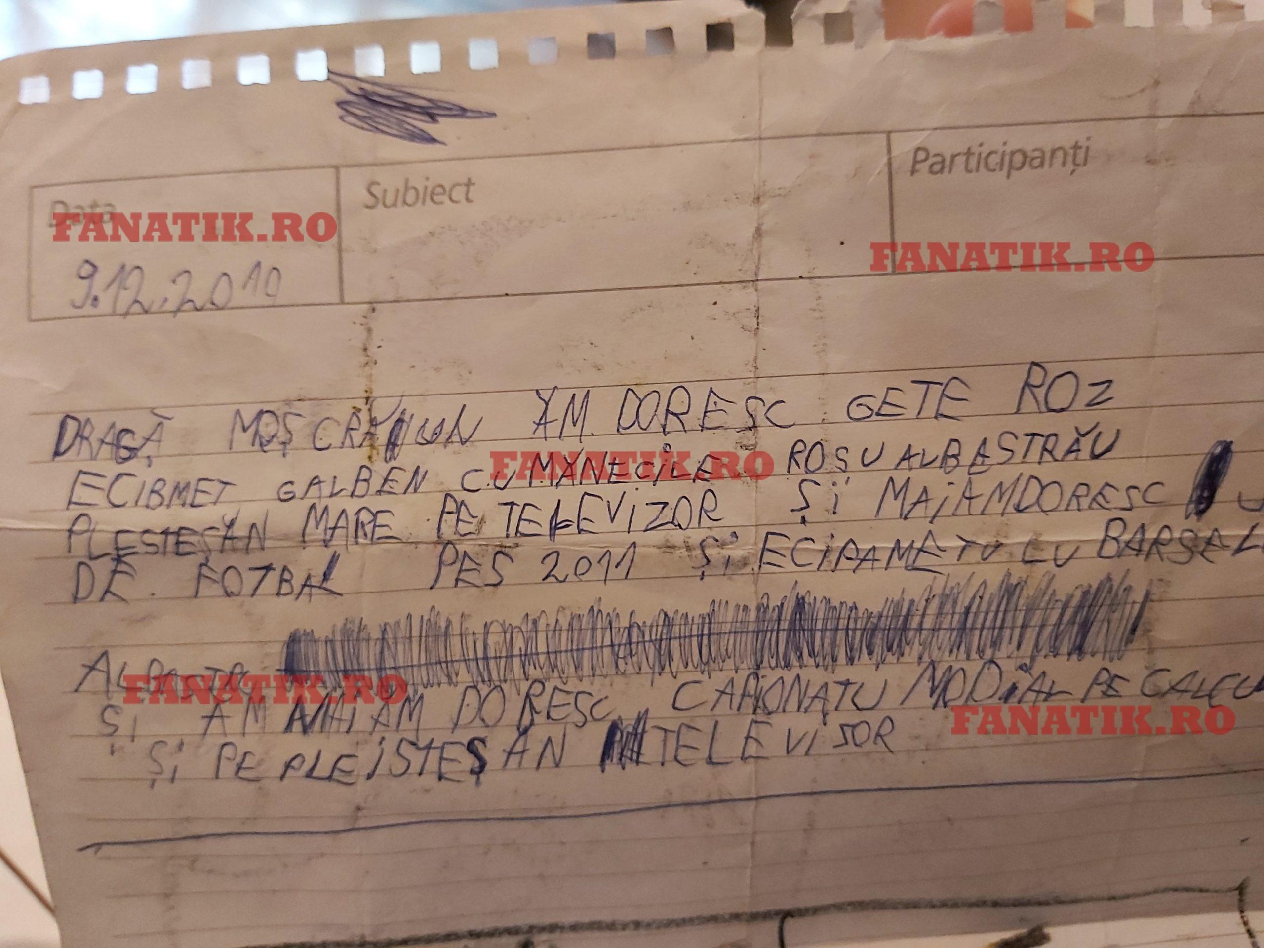 scrisoare pentru Moș Craciun de la Marius Ciobanu Vanghele