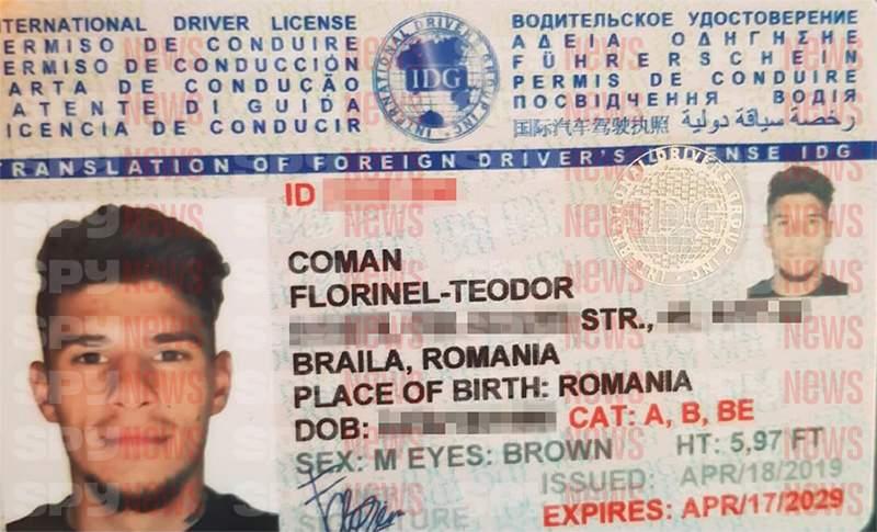 Carnetul de conducere din Ucraina al lui Florinel Coman. Sursă foto: spynews.ro