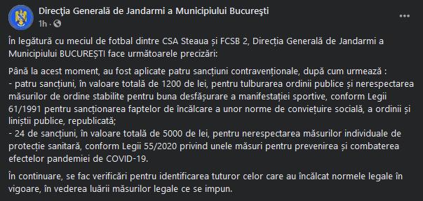 Comunicatul Jandarmeriei Romane dupa meciul dintre CSA Steaua si FCSB II