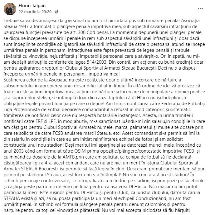 Florin Talpan atac George Ogăraru