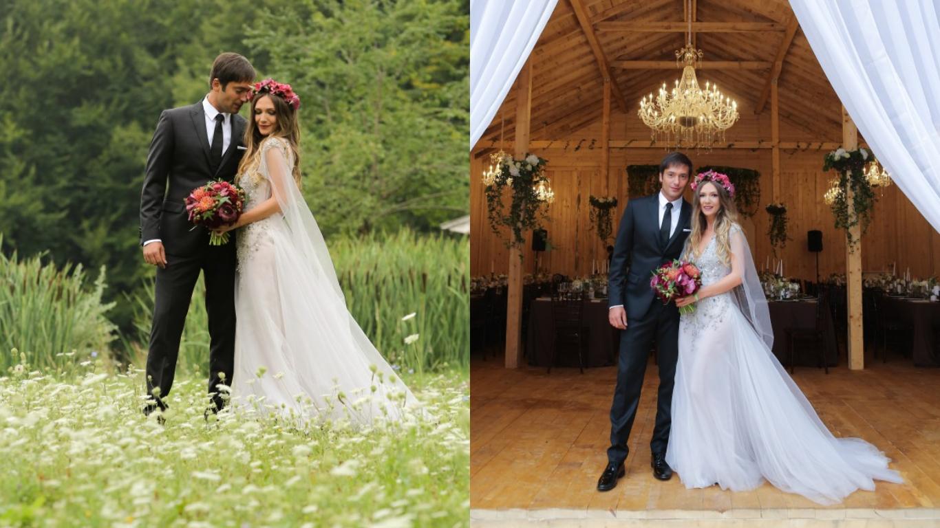 Adela Popescu și Radu Vâlcan, în ziua nunții